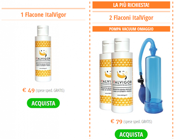 ItalVigor prezzo pompa vacuum